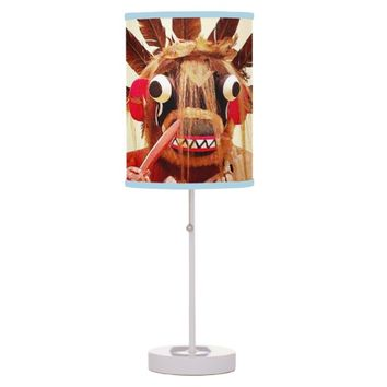 Wooden funny, cute, friendly face photo table lamp