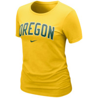 Nike Oregon Ducks Ladies Arch Crew T-Shirt - Yellow