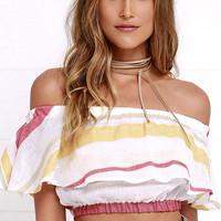 Simple Pleasures Ivory Striped Off-the-Shoulder Crop Top