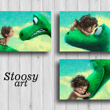 the good dinosaur print set of 3 nursery room decor disney watercolor pixar art