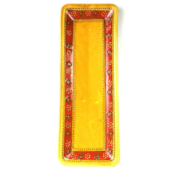 Handmade Hand-painted Ceramic Long Platter  Honey