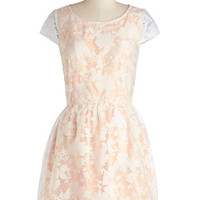 ModCloth Pastel Mid-length Cap Sleeves A-line Fairytale Moment Dress