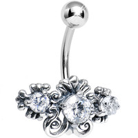 925 Silver Clear CZ Scrolled Flowers Belly Ring | Body Candy Body Jewelry