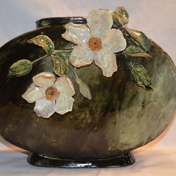 Large  Pillow Vase ~Art Pottery  ~ Majolica Barbotine ~ Applied White Flowers ~ Thomas Jerome Wheatley, 1880-1883, Ohio, United States