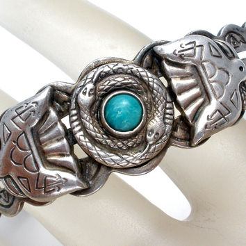 Sterling Silver Coiled Snake Turquoise Cuff Bracelet