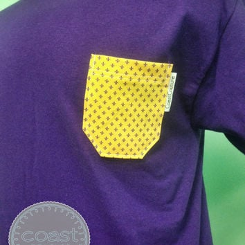 LSU Purple and Gold Fleur de Lis Fabric Pocket Tee