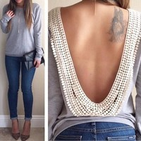 Hot Sale Open Back Grey Patchwork Lace Backless Long Sleeve Halter Casual T-Shirt