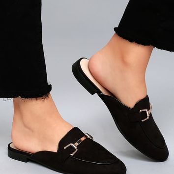 Eliza Black Suede Loafer Slides