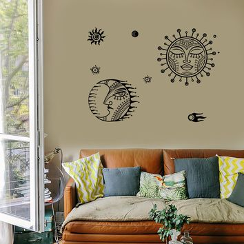 Wall Decal Sun Moon Universe Space Stars Cool Mural Vinyl Decal Unique Gift (z3156)