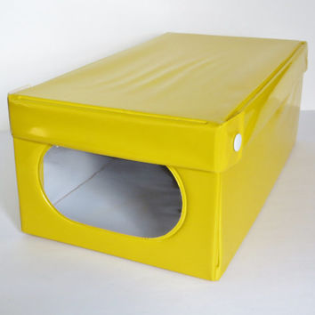 Vintage Shoe Storage Box Yellow Vinyl
