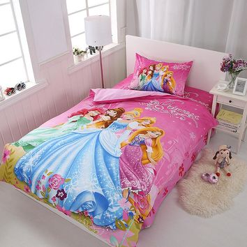 Disney skin-friendly children cotton cartoon bedding set Mickey Princess duvet cover+sheet+pillow case