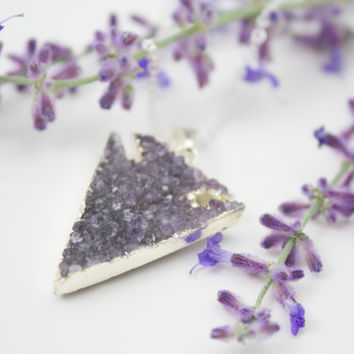 Purple Druzy Arrowhead Necklace - Silver Arrow Jewelry - Luxe Collection