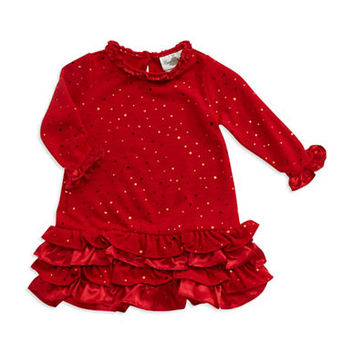 Rare Editions Girls 2-6x Sequin and Ruffled Dress