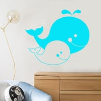 Vinyl Wall Decal Cartoons Family Whales Sea Ocean Animals Decor For Nursery Stickers Unique Gift (1213ig)