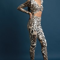 Leopard Print Open Midriff Long Sleeve Jumpsuit