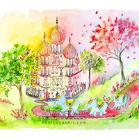 Children Nursery Art Elephant Watercolor Print March to the Palace 16 x 12 AndiLucasArt