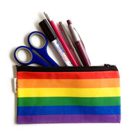 SALE - RAINBOW colors pencil case zipper pouch - with black zipper - colorful gift for him for her for teens for kids for school, gay LGBT