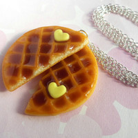polymer clay best friend roundn waffle necklace with heart shaped butter - bff