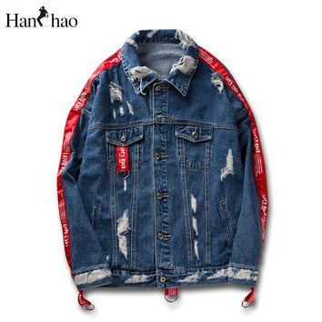Ribbon on Sleeve Destroyed Denim Jackets Men Women 2017 Autumn Streetwear Jeans Jacket Men Black Blue