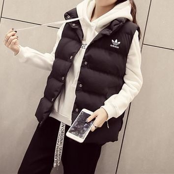 Adidas Women Simple Casual Solid Color Sleeveless Cardigan Cotton-padded Clothes Vest Jacket Coat