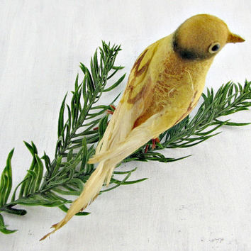 Vintage 1950s Christmas Ornament, Gold Spun Cotton Bird Ornament, Real Feather Bird Ornament, Rustic Ornament, Christmas Tree Ornament