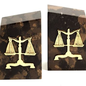Lawyer Profession Scales of Justice Marble Bookends 6H