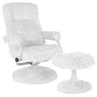 East Side Contemporary Recliner and Ottoman in White Fur