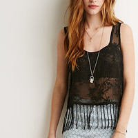 Embroidered Semi-Sheer Fringe Tank