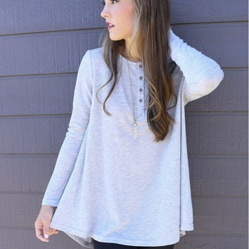 Button Up Long Sleeve Flounce Dress