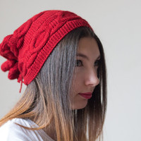 Slouchy beanie, Knitted Slouchy Beanie, Slouchy Hat, 2 in 1 Hat and Neck Warmer, 2 in 1 Neck Warmer and Hat, Red Slouchy Beanie, Knit Hat