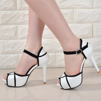 2016 Peep Toe Summer Sandals Ankle Strap Women's Sandals Platform 3cm High Heel 11cm For Office Lady Sandals Size 35-39 SF301