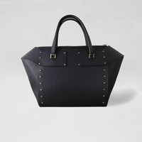 BLACK LARGE STUDDED TOTE BAG