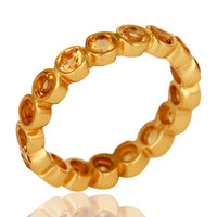 18K Gold Plated Sterling Silver Citrine Ring Gemstone Band