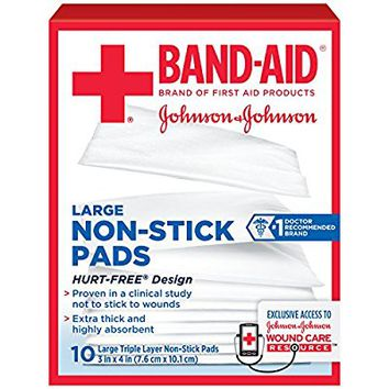 Band-Aid Brand Of First Aid Products, Large Non-Stick Pads for Minor Cuts, 10 3-Inch x 4-Inch Pads (pack of 3)