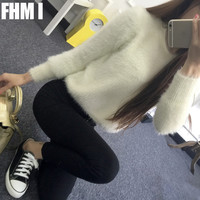 Winter mohair sweater women hedging short paragraph female Korean sweater coat thick loose clothes College wind C080