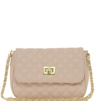 Quilted Lock Cross Body Bag