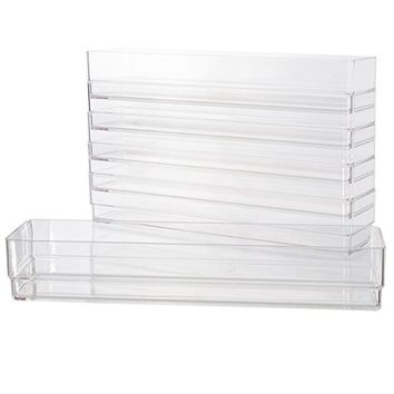 "Break-Resistant Plastic Drawer Organizers 12"" x 3"" x 2"" l Set of 6"