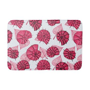 Pink Snails And Leaves Nature Lover Pattern Bath Mat