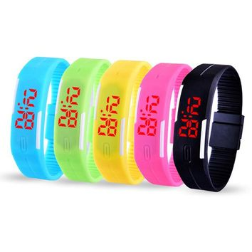 Brand Fashion LED Digital Watch Calendar Wristwatch Candy Color Men Women Silicone Rubber Touch Screen Sports Couple Watches