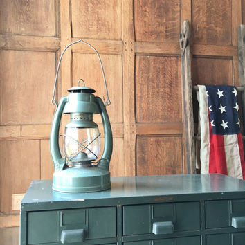 Antique Lantern, Shapleigh Hardware Co Advertising Lantern, Norleigh Diamond, Railroad Lantern, Rustic Industrial Decor, Vintage Camping