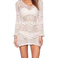 Beige V- Neck Crochet  Bodycon Dress
