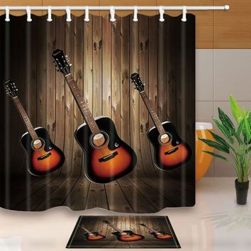 Three Guitars Musical Instruments Bathroom Unique Cool Fabric Long Shower Curtains