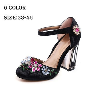CHENSIR9 Woman Velvet with rhinestone high heels shoes wedding shoes party shoes for women mary jane shoes plus size 33-46