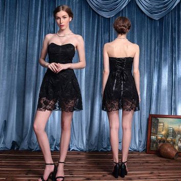ESBONG Lace Black Wrap Ball Gown Cosplay One Piece Dress [8979048135]