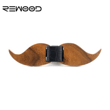HOT SALE Formal Commercial Wooden Bow Tie Male Solid Color Marriage Beard Shape Bow Ties For Men Butterfly Cravat Wood Bow Tie