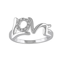 Diamond Accent Sterling Silver ''Love'' Ring (White)