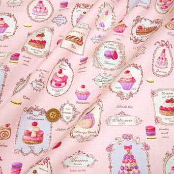 Yuwa Fabric Macaron and sweets Half meter A12