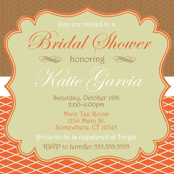 Beautiful Fancy Fall Autumn Bridal Shower Invitation. Coral Brown Wedding Shower Invite. Orange Brown Autumn Wedding Invite.