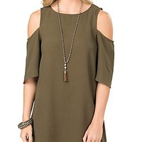Umgee Women's Olive Cold Shoulder Dress