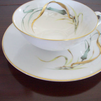 Vintage China from H & C Heinrich SELB, Bavaria Germany Wheat and Leaves Fine China Plates, Saucers, Tea Cup
